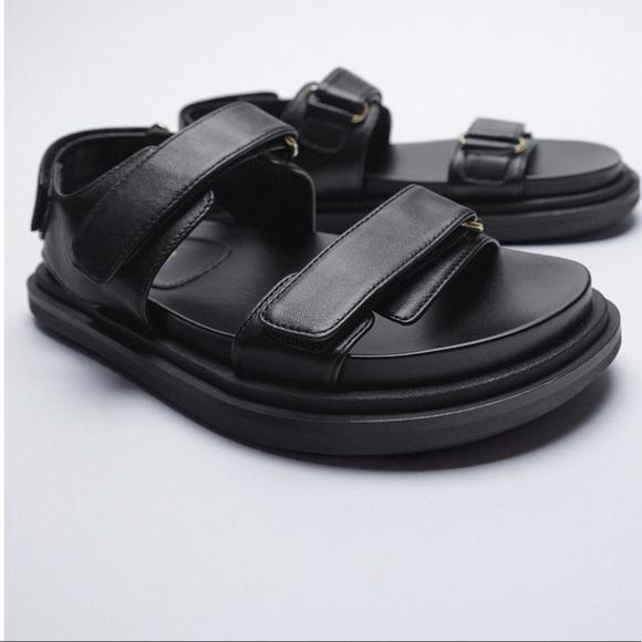 Zara black dad sandals